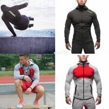 Men Training Muscle Brothers Long Jacket Pants Sports Running Coat Hooded Suit