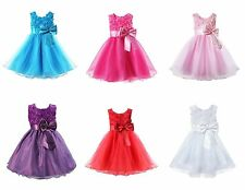 Girls Bridesmaid Dress Kids Princess Wedding Summer Party Flower Bow Christening