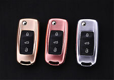 Car Key Case Cover For Volkswagen Folding Key Aircraft Aluminum Genuine Leather