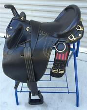 "17"" NEW BLACK LEATHER AUSTRALIAN STOCK SADDLE PACKAGE BY OUT BACK SADDLE CO."