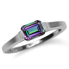 1.26ct. Mystic Fire Topaz 925 Sterling Silver Solitaire Ring