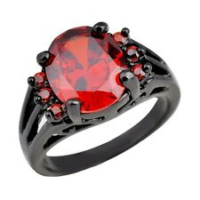 Women's Oval Ruby Red Garnet Wedding Ring 10KT Black Gold Jewelry Size 6,7,8,9