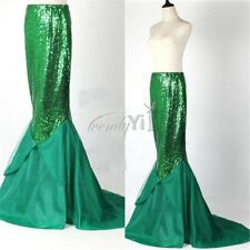 Ladies Sexy Mermaid Halloween Costume Fancy Party Sequins Maxi Dress Tail Skirt