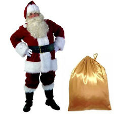 Deluxe Plush Mens Santa Claus Father Christmas Xmas Suit Fancy Dress Costume