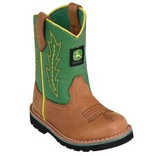 John Deere Western Boots Boys Wellington Round Toe Tan Green JD1186