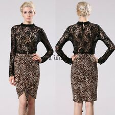 Stylish Women Leopard Bodycon Package Hip Casual Party Pencil Skirt Hot TXWD