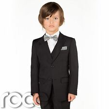 Boys Black Suit, Slim Fit Suit, Paisley Of London, Page Boy Outfit, Dickie Bow