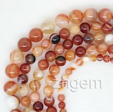 "Natural Red Agate Round Gem Stone Loose Beads 15"" long Strand Jewelry Making"