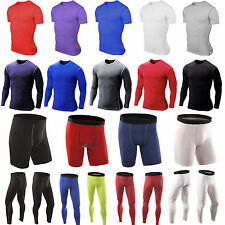 Mens Compression Shirt Armour Base Layer Tight Top Thermal Shorts Pants Gym Wear