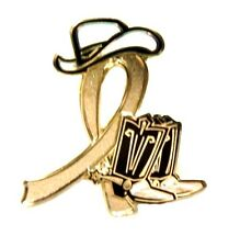 Gold Ribbon Pin Western Cowboy Boots Hat Childhood Cancer Causes Awareness New