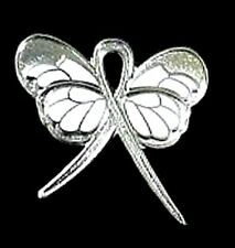Silver Ribbon Butterfly Pin Stalking Dyslexia TBI CMT Cancer Cause Awareness New