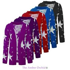 Ladies Womens Star Printed Jumper Long Sleeves Open Knitted Cardigan Plus Size