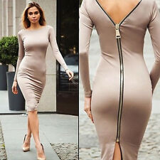 Women Sexy Back Zipper Split Package Hip Pencil Dresses Night Clubwear Party