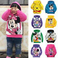 Mickey Minnie Mouse Girls Hoodies Sweatshirt Boys Winnie Hooded Top Clothes 2-9Y