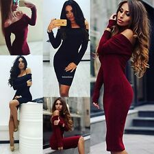 Women Sexy Strapless Package Hip Long Sleeve Party Cocktail Bodycon Pencil Dress