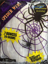 New White Stretchy Spooky Spider Web Decoration Halloween Party Fancy dress