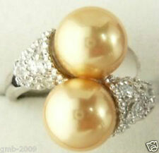 Noblest 18K GP 8mm Real Golden South Sea Shell Pearl Ring Size 7 8 9
