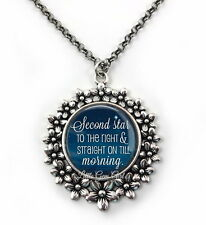 Peter Pan Book Quote Necklace Second Star on the Right Literary Book Pendant