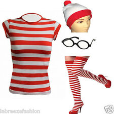 LADIES GIRLS WHERES WALLY SET OUTFIT RED WHITE STRIPES T-SHIRT HAT GLASSES SOCKS