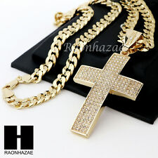 HIP HOP ICED OUT 2PAC CROSS PENDANT & DIAMOND CUT CUBAN LINK CHAIN NECKLACE N34