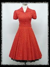 dress190 RED POLKA DOT 40s 50s WW2 SHIRT ROCKABILLY SWING PIN-UP VINTAGE DRESS