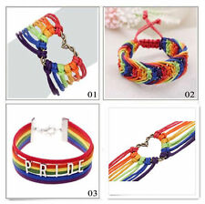 Charm Lesbian Valentine's Gifts LGBT Flag Braid Rainbow Gay Pride Bracelet Love