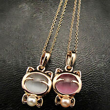 Women Fashion Cat Pearl Necklaces Charm Pendant Alloy Collarbone Chain Jewelry