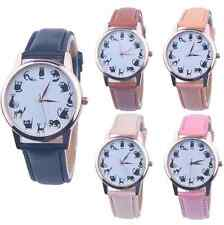 Casual Watch Cat Dial Leather Stainless Steel Analog Quartz Women Wrist Watches