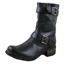 Apres by Lamo Women's Helena Black Leather 2 Buckle Short Motorcycle Boot PW5009