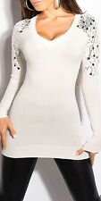 New KouCla Sequin Sweater Knitted Jumper Fine knit Long Pullover Sweater ! 8045