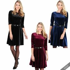 Womens Vintage Velvet Skater Dress Ladies 3/4 Sleeve Top Xmas Party Evening Plus