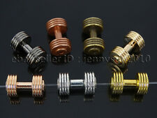 Solid Metal Dumbbell Stripe Style Bracelet Necklace Connector Spacer Charm Beads