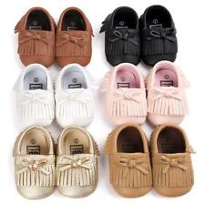 Baby Tassel Leather Shoes Infant Boy Girl Toddler Moccasin 0-18 Months Soft Sole