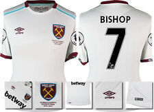 16 / 17 - UMBRO WEST HAM UNITED AWAY SHIRT SS + PATCHES  BISHOP 7 = KIDS SIZE