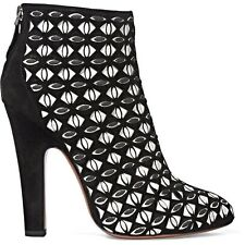 AZZEDINE ALAIA BLACK & WHITE SUEDE ANKLE BOOTS WOMENS SHOES NEW 2016 PUMPS HEELS