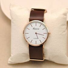 New Geneva Simple Fashion Leather Band Quartz Watch Men's Women's Wrist watches