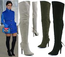 WOMENS OVER THE KNEE THIGH HIGH STILETTO HEEL LADIES WIDE CALF BOOTS SHOES SIZE