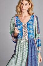 PLUS SIZE BLUE GREEN FLORAL PAISLEY BOHO GYPSY BABYDOLL MINI DRESS 1X 2X 3X