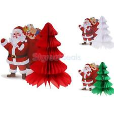 "Paper Honeycomb Decorations 12"" Christmas Tree Santa Claus Tissue Paper Décor"
