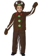 Childs Little Gingerbread Man Christmas Xmas Fancy Dress Costume Outfit Age 4-9