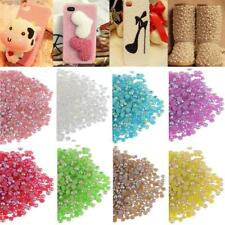 1000Pcs Half Pearl Round Beads Flat Back 2-5mm Nail Art DIY Decoration Craft