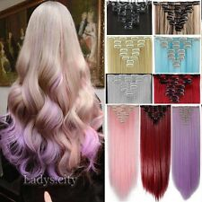 18Clips On In Hair Extensions Straight Curly Full Head Human Hair Extentions Fkt