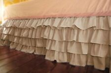 1 Qty Multi Ruffle Bed Skirt Drop 8 To 20 Inch Egyptian Cotton Taupe Solid