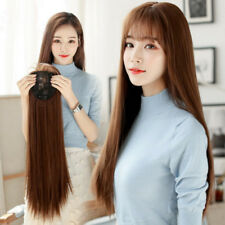 55cm Natural Color Womens Long Straight Clip Hair Extension Hairpiece With Bangs