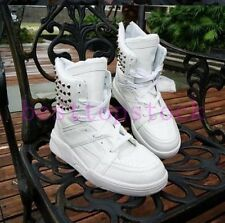 New Fashion Mens Casual Rivet Lace Up Faux Patent Leather Motorcycle Ankle Boots