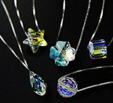 Aurora Silver Colorful Shiny Stone Crystal Pendant Necklace Chain Women Jewelry