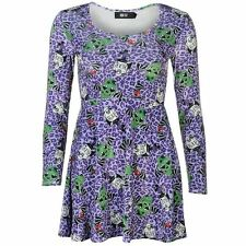 Iron Fist Womens Dress Skater Patterned Casual Long Sleeve Scoop Neck Top