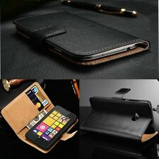 Genuine Real Leather Magnetic Flip  Wallet Skin Case Cover For Nokia Lumia Y