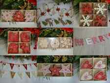 Wooden red white shabby chic Christmas decorations tree star snowflakes garland
