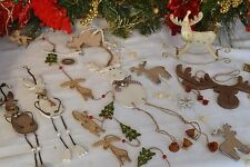 Shabby Chic wooden Reindeer Rudolph Christmas tree decorations garland